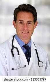 Caucasian male doctor working in a hospital