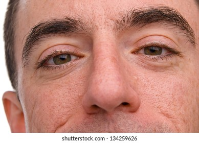 Caucasian Male Headshot - Extreme Closeup of his Nose and Eyes