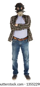 A caucasian male in his early 30's dressed in a casual attire and wearing a gas mask, looking at the camera with his arms crossed. Isolated on white background.