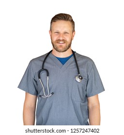 Caucasian Male Nurse Isolated On White.