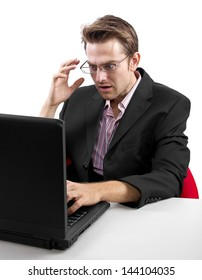 caucasian male using laptop on white background