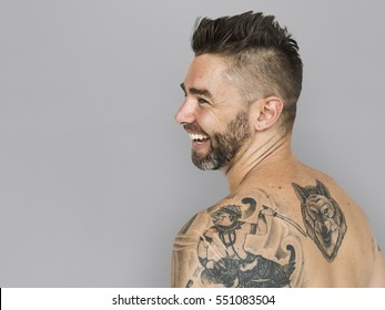Caucasian Man Back Tattoo Smiling
