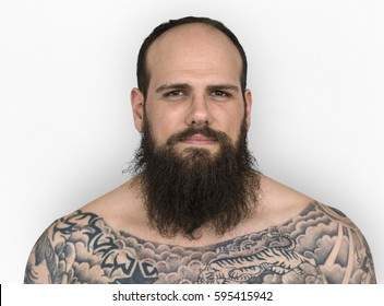 Caucasian Man Bare Chested Tattoo Beard