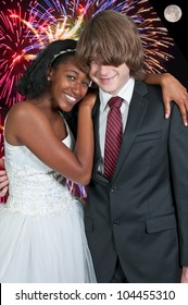 Caucasian man and a black African American woman newly married newlyweds