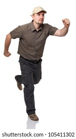 caucasian man with cup in running pose isolated