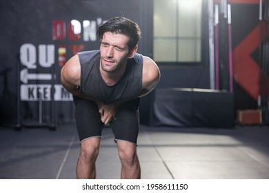 Caucasian Man Gab His Testicle and Groin with Pain at a Gym