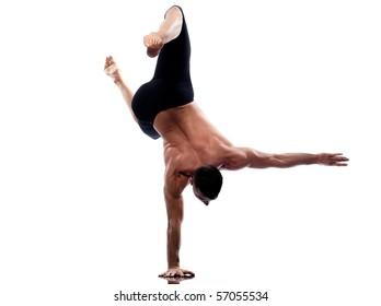 caucasian man gymnastic acrobatics equilibrium posture isolated studio on white background