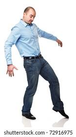 caucasian man move slow on white background