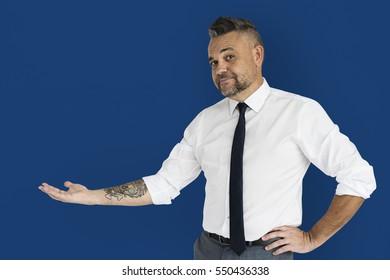 Caucasian Man Showing Hand Gesture