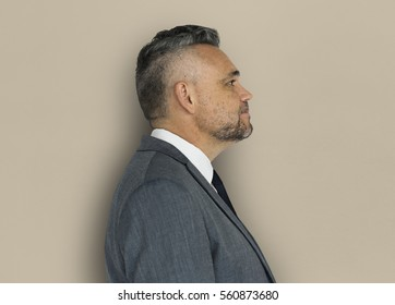 Caucasian Man Side View Business Wear