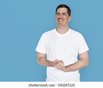 Caucasian Man Smiling Happy
