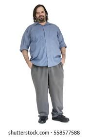 Caucasian Man Standing Smile Positive