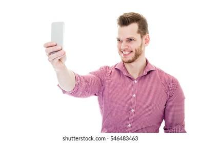 Caucasian man takes a selfie