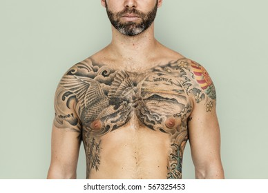 Caucasian Man Tattooed Chest