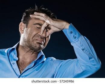caucasian man unshaven stink smell portrait isolated studio on black background
