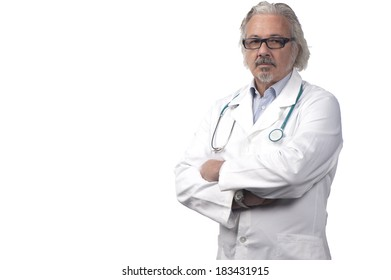 caucasian mature male doctor on background