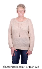 caucasian middle aged woman on white background