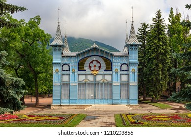"Caucasian Mineral Waters, Pyatigorsk - 25 May 2018. The resort park ""Flower Garden"" and the resort gallery ""Lermontovskaya Gallery"" (1901), a favorite resting place for guests of the resort."