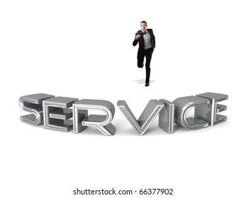 caucasian running businessman and service 3d text