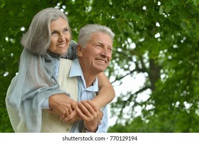 caucasian senior couple  in the park