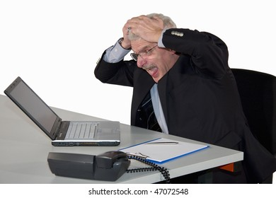 a caucasian senior manager receiving bad news and freaking out, isolated on white background