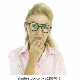 Caucasian Senior Woman Curious Face Expression Portrait Studio
