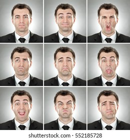 caucasian short hair brunette businessman square collection set of face expression like happy, sad, angry, surprise, yawn on gray