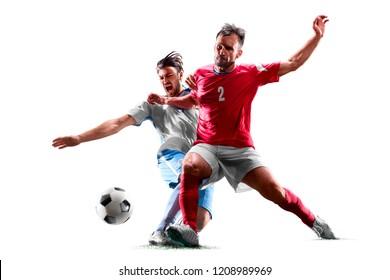 kaukasische Fußballspieler einzeln auf weißem Hintergrund