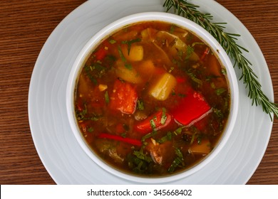 Caucasian soup - chanakhi with lamb and vegetables
