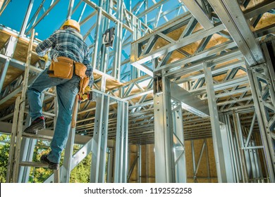 Caucasian Steel Frame Worker. Building Technologies. Construction Site.