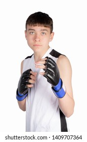 Caucasian teenage boxer ready to fight