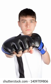 Caucasian teenage boxer striking with a punch