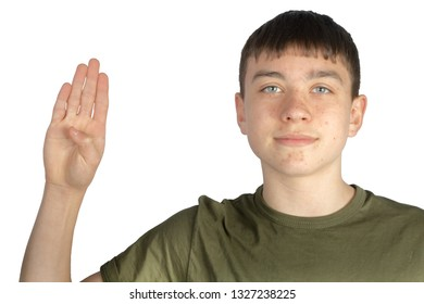 Caucasian teenage boy doing American Sign Language on one hand showing the symbol for B