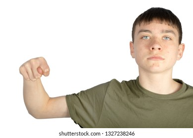 Caucasian teenage boy doing American Sign Language on one hand showing the symbol for N
