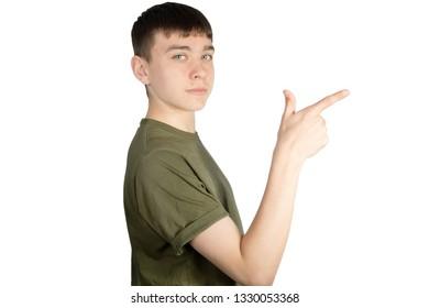 Caucasian teenage boy doing British Sign Language showing the symbol for 7