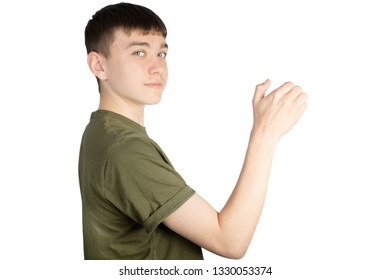 Caucasian teenage boy doing British Sign Language showing the symbol for 6