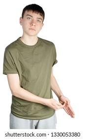 Caucasian teenage boy doing British Sign Language showing the symbol for Z
