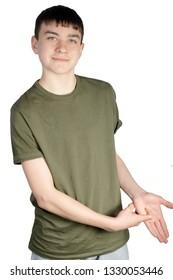 Caucasian teenage boy doing British Sign Language showing the symbol for R