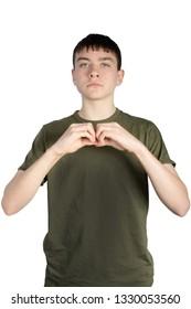 Caucasian teenage boy doing British Sign Language showing the symbol for B