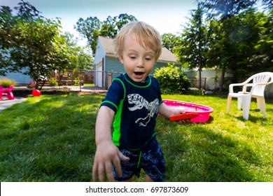 Caucasian Toddler Blonde Haired Boy Plays In A Pink Backyard Kiddie Pool During  A Hot Summer Day