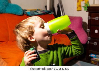 Caucasian Toddler Boy Drinks Water From His Cup