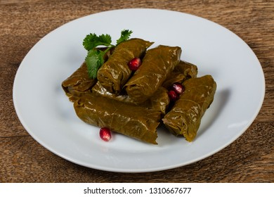 Caucasian traditional Dolma - minced meat in grape leaves