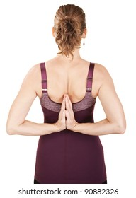 Caucasian woman in backward namaskar or salutation pose