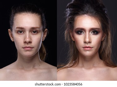 Caucasian Woman before after  applying make up hair style. no retouch, fresh face with nice and smooth skin. Studio lighting black gray background