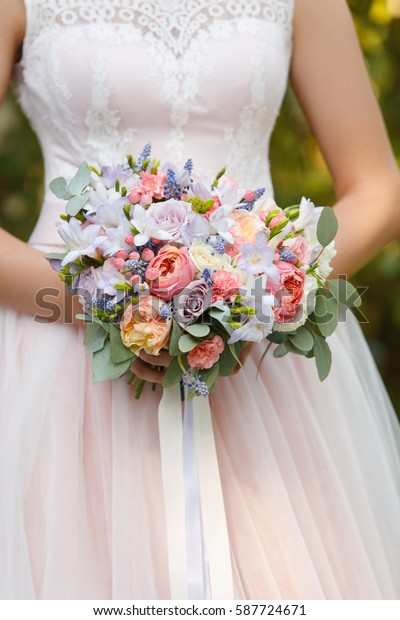 Caucasian Woman Beige Wedding Dress Hold Stock Photo Edit Now