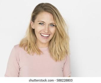 Caucasian Woman Casual Confident Concept