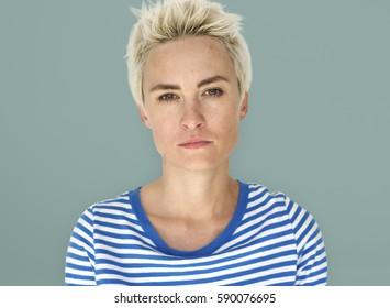 Caucasian Woman Cool Neutral Poker Face