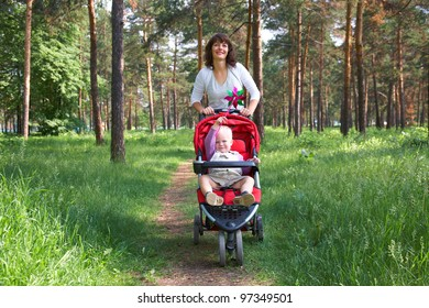 caucasian woman holding carriage with her little son in summer park background