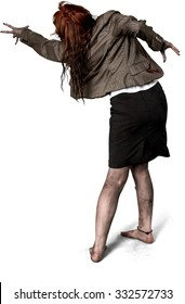 Caucasian woman with long medium brown hair in zombie costume reaching - Isolated