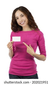 Caucasian woman showing an empty sign card